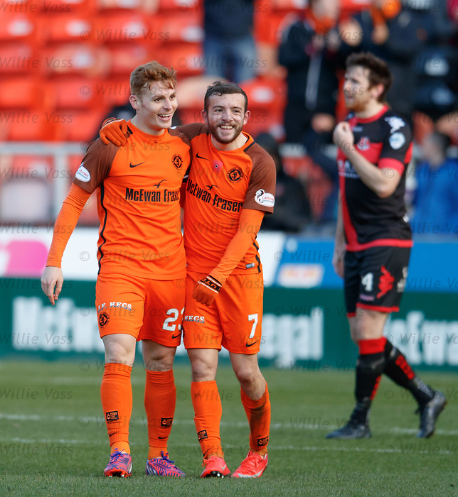 Fraser Fyvie celebrates his goal with Paul McMullan