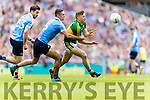 James O'Donoghue Kerry in action against  Michael Darragh Macauley  and James McCarthy Dublin in the All Ireland Senior Football Semi Final at Croke Park on Sunday.