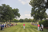 Jon Rahm (ESP) watches his tee shot on 2 during round 3 of the Dean &amp; Deluca Invitational, at The Colonial, Ft. Worth, Texas, USA. 5/27/2017.<br /> Picture: Golffile | Ken Murray<br /> <br /> <br /> All photo usage must carry mandatory copyright credit (&copy; Golffile | Ken Murray)