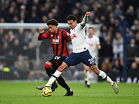 30th November 2019; Tottenham Hotspur Stadium, London, England; English Premier League Football, Tottenham Hotspur versus AFC Bournemouth; Dele Alli of Tottenham Hotspur competes for the ball with Arnaut Danjuma of Bournemouth - Strictly Editorial Use Only. No use with unauthorized audio, video, data, fixture lists, club/league logos or 'live' services. Online in-match use limited to 120 images, no video emulation. No use in betting, games or single club/league/player publications