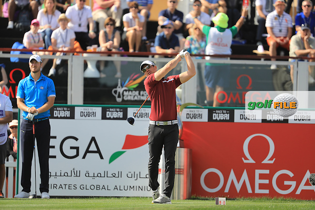 Magnus A Carlsson (SWE) on the 1st during the final round of the Omega Dubai Desert Classic, Emirates Golf Club, Dubai,  United Arab Emirates. 05/02/2017<br /> Picture: Golffile | Fran Caffrey<br /> <br /> <br /> All photo usage must carry mandatory copyright credit (&copy; Golffile | Fran Caffrey)