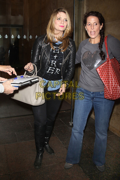 Mischa Barton<br /> At SiriusXM Studios in New York City, New York, USA.<br /> September 25th, 2013 <br /> full length black leather jacket jeans denim beige bag purse writing blue gingham check shirt boots<br /> CAP/MPC/RW<br /> &copy;RW/ MediaPunch/Capital Pictures