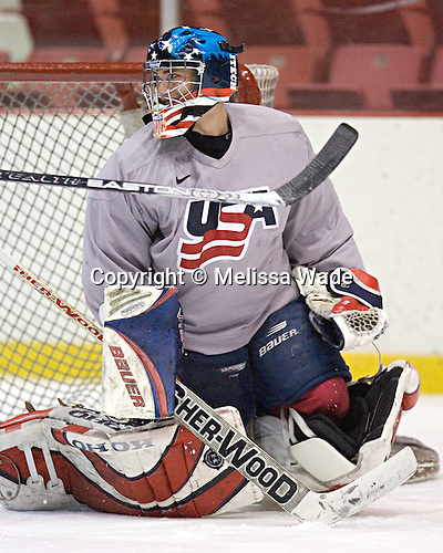 Brett Bennett smiles after a save. The two US teams took part in separate practices on Thursday, August 10, 2006 in the 1980 Rink at Lake Placid, New York.