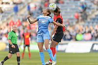 Bridgeview, IL, USA - Saturday, April 23, 2016: Chicago Red Stars forward Cara Walls (12) and Western New York Flash defender Abby Erceg (6) during a regular season National Women's Soccer League match between the Chicago Red Stars and the Western New York Flash at Toyota Park. Chicago won 1-0.