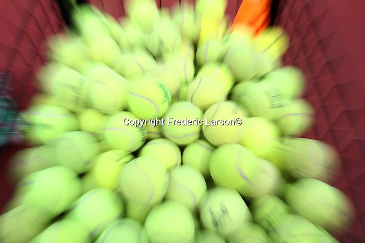 A group of tennis balls Golden Gate Park (tennis courts) on April 2, 2012