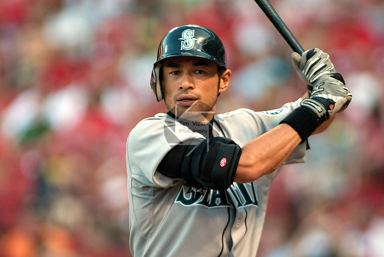 June 14, 2010         Seattle Mariners right fielder Ichiro Suzuki (51) takes a few practice swings before his second at-bat.  The St. Louis Cardinals defeated the Seattle Mariners 9-3 in the first game of a three-game homestand at Busch Stadium in downtown St. Louis, MO on Monday June 14, 2010.