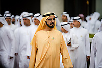 DUBAI, UNITED ARAB EMIRATES - MARCH 25: Shiekh Mohammed bin Rashid Al Maktoum at the Dubai World Cup at Meydan Racecourse during Dubai World Cup Day on March 25, 2017 in Dubai, United Arab Emirates. (Photo by Douglas DeFelice/Eclipse Sportswire/Getty Images)