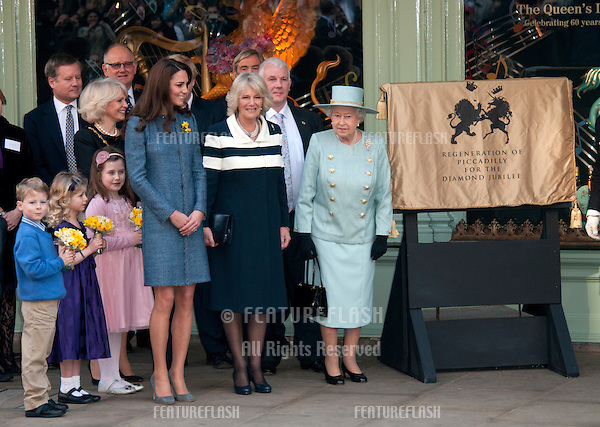 Queen Elizabeth II, Camilla Duchess of Cornwall and Catherine Duchess of Cambridge visit Fortnum and Mason, London, UK. March 1, 2012, London, UK.Picture: Catchlight Media / Featureflash