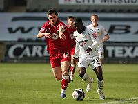 ATTENTION SPORTS PICTURE DESK<br /> Pictured L-R: Ivan Sproule of Bristol against Nathan Dyer of Swansea <br /> Re: Coca Cola Championship, Swansea City FC v Bristol City FC at the Liberty Stadium Swansea, south Wales. Saturday 18 April 2009.<br /> Picture by D Legakis Photography / Athena Picture Agency, Swansea 07815441513