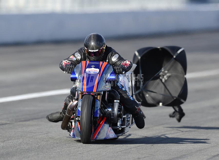 Feb 9, 2019; Pomona, CA, USA; NHRA top fuel Harley Davidson nitro motorcycle rider Jay Turner during the Winternationals at Auto Club Raceway at Pomona. Mandatory Credit: Mark J. Rebilas-USA TODAY Sports