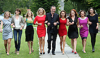 05/08/'10  Daithi O Se pictured with from left, Sonya Lennon, Jennifer Maguire, Nuala Carey, Claire Byrne, Mairead Farrell, Blathnaid  Ni Chofaigh, Maura Derrane and Michelle  Doherty pictured  at the launch of RTE's new season winter schedule at Montrose this afternoon...Picture Colin Keegan, Collins, Dublin.