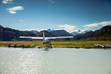 USA, Alaska, Redoubt Bay, Big River Lake, a float plane arriving into Redoubt Bay