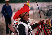 A horseman in traditional military outfit, Lhasa.