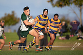 Caleb Fa'alili makes good metres upfield. Counties Manukau Premier Club Rugby game between Manurewa and Patumahoe, played at Mountfort Park Manurewa on Saturday June 23rd 2018. Patumahoe won the game 29 - 24 after trailing 12 - 19 at halftime.<br /> Manurewa Kidd Contracting 24 - Petelo Ikenasio, David Osofua, Paolelei Luteru, Pisi Leilua tries, Timothy Taefu 2 conversions,<br /> Patumahoe Troydon Patumahoe Hotel 29 - Kalim North, Shea Furniss, Jonny Wilkinson, Mark Royal, James Brady tries,  Broc Hooper 2 conversions.<br /> Photo by Richard Spranger