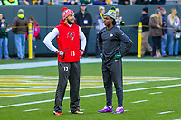 Tampa Bay Buccaneers wide receiver Mike Evans (13) and Green Bay Packers wide receiver Davante Adams (17) prior to a National Football League game on December 2nd, 2017 at Lambeau Field in Green Bay, Wisconsin. Green Bay defeated Tampa Bay 26-20. (Brad Krause/Krause Sports Photography)