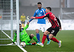 Queen of the South v St Johnstone...07.02.15    Scottish Cup 5th Round<br /> Michael O'Halloran misses a sitter<br /> Picture by Graeme Hart.<br /> Copyright Perthshire Picture Agency<br /> Tel: 01738 623350  Mobile: 07990 594431