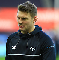 Ospreys' Dan Biggar during the pre match warm up.<br /> <br /> Photographer Dan Minto/CameraSport<br /> <br /> Guinness Pro14 Round 13 - Ospreys v Cardiff Blues - Saturday 6th January 2018 - Liberty Stadium - Swansea<br /> <br /> World Copyright &copy; 2018 CameraSport. All rights reserved. 43 Linden Ave. Countesthorpe. Leicester. England. LE8 5PG - Tel: +44 (0) 116 277 4147 - admin@camerasport.com - www.camerasport.com