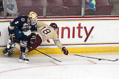 Shayne Taker (ND - 3), Michael Sit (BC - 18) - The Boston College Eagles defeated the visiting University of Notre Dame Fighting Irish 4-2 to tie their Hockey East quarterfinal matchup at one game each on Saturday, March 15, 2014, at Kelley Rink in Conte Forum in Chestnut Hill, Massachusetts.