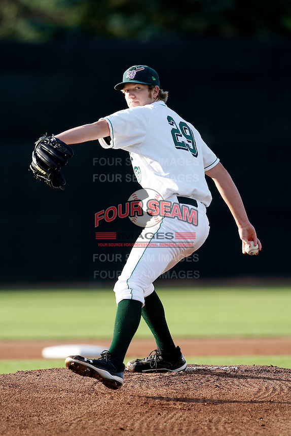 July 16, 2009:  Pitcher Curtis Petersen of the Jamestown Jammers delivers a pitch during a game at Russell Diethrick Park in Jamestown, NY.  The Jammers are the NY-Penn League Short-Season Single-A affiliate of the Florida Marlins.  Photo By Mike Janes/Four Seam Images