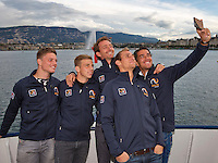 Swiss, Gen&egrave;ve, September 14, 2015, Tennis,   Davis Cup, Swiss-Netherlands, Dutch team on a boat trip on lake Geneve making a selfie ltr:   Tim van Rijthoven,  Tallon Griekspoor,  Matwe Midelkoop , Thiemo de Bakker and Jesse Huta Galung.<br />