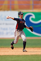 Rome Braves shortstop Riley Delgado (8) throws to first base during a game against the Lexington Legends on May 23, 2018 at Whitaker Bank Ballpark in Lexington, Kentucky.  Rome defeated Lexington 4-1.  (Mike Janes/Four Seam Images)