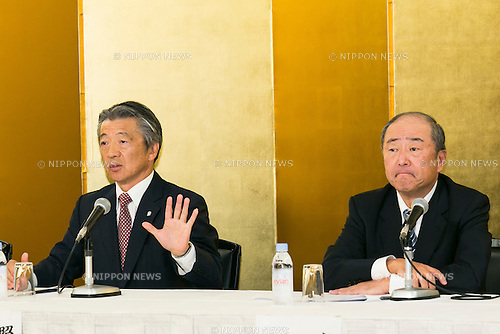 (L to R) Tsuyoshi Kameoka Representative Director, President, Group CEO of Showa Shell Sekiyu K.K. and Takashi Tsukioka Representative Director & Chief Executive Officer of Idemitsu Kosan Co Ltd. announce the Idemitsu company's plans to buy a 1/3 stake in Showa Shell Sekiyu from Royal Dutch Shell at a news conference held at the New Otani Hotel on July 30th, in Tokyo, Japan. Idemitsu Kosan is currently Japan's second biggest oil refiner with Showa Shell ranked fifth. Idemitsu Kosan will pay approximately $1.4 billion for the stake, and the deal should see it competing for the number one spot in the competitive Japanese market. Shell will retain a small stake in Show Shell and will benefit from the influx of capital. Pending approval the deal is expected to be complete in 2016. (Photo by Rodrigo Reyes Marin/AFLO)