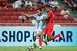 Eduardo Salvio of Argentina (L) fights for the ball with Shakir Hamza of Singapore (R) during the International Test match between Argentina and Singapore at National Stadium on June 13, 2017 in Singapore. Photo by Marcio Rodrigo Machado / Power Sport Images