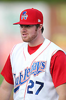 Auburn Doubledays pitcher Aaron Barrett #27 before game one of the NY-Penn League Championship Series against the Staten Island Yankees at Falcon Park on September 12, 2011 in Auburn, New York.  Staten Island defeated Auburn 9-2.  (Mike Janes/Four Seam Images)