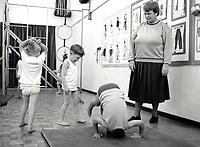 PE lesson, primary school Nottingham UK 1992