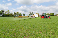 Spraying fungicide onto Spring Wheat - Lincolnshire, May