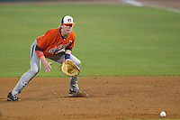 Auburn Tigers first baseman Garrett Cooper #28 fields a ground ball against the LSU Tigers in the NCAA baseball game on March 23, 2013 at Alex Box Stadium in Baton Rouge, Louisiana. LSU defeated Auburn 5-1. (Andrew Woolley/Four Seam Images).