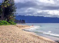 A beach on the famous north shore of Oahu, Hawaii.