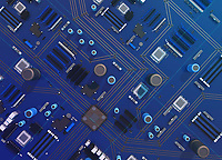 Overhead view of computer motherboard