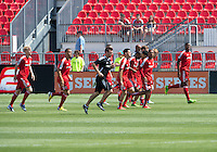 20 July 2013: Toronto FC during the warm-up in an MLS regular season game between the New York Red Bulls and Toronto FC at BMO Field in Toronto, Ontario Canada.<br /> The game ended in a 0-0 draw.
