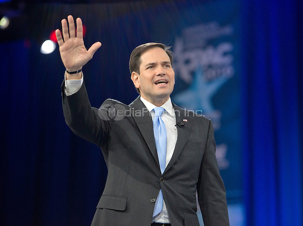 United States Senator Marco Rubio (Republican of Florida), a candidate for the Republican Party nomination for President of the United States, waves as he arrives to speak at the Conservative Political Action Conference (CPAC) at the Gaylord National Resort and Convention Center in National Harbor, Maryland on Saturday, March 5, 2016.<br /> Credit: Ron Sachs / CNP/MediaPunch
