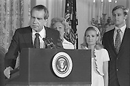 Washington DC  - Nixon resigned the presidency on August 9, 1973  saying farewell to his Cabinet and White House staff with his family by his side (left to right Richard Nixon with wife Pat, daughter Tricia and son in law Edward Cox)- A break in at the Democratic National Committee headquarters at the Watergate complex on June 17, 1972 results in one of the biggest political scandals the US government has ever seen.  Effects of the scandal ultimately led to the resignation of  President Richard Nixon, on August 9, 1974, the first and only resignation of any U.S. President.
