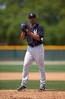 New York Yankees Vicente Campos (50) during a minor league Spring Training game against the Pittsburgh Pirates on March 26, 2016 at Pirate City in Bradenton, Florida.  (Mike Janes/Four Seam Images)