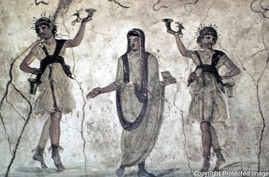 Lararium, Wall Paintings in the House of the Vettii in Pompeii, Italy