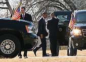 United States President Barack Obama arrives aboard Marine One at the National Naval Medical Center in Bethesda, Maryland on February 23, 2011 where he will visit wounded warriors and their families...Credit: Gary Fabiano / Pool via CNP