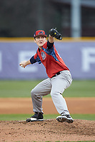 NJIT Highlanders starting pitcher Sean Lubreski (17) in action against the High Point Panthers at Williard Stadium on February 18, 2017 in High Point, North Carolina. The Highlanders defeated the Panthers 4-2 in game two of a double-header. (Brian Westerholt/Four Seam Images)