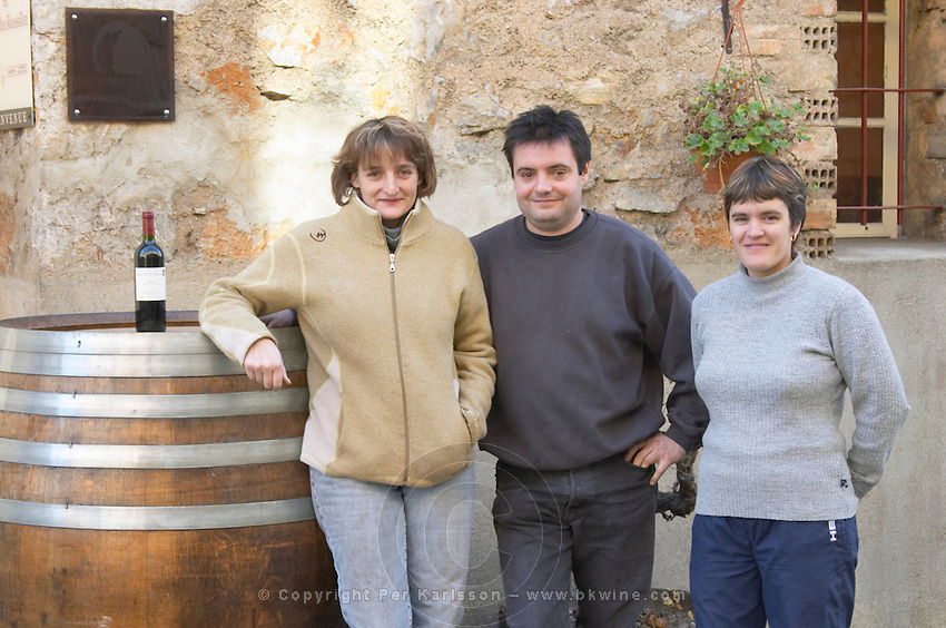 Jérôme Bertrand, his wife Sabine (left), and his sister Magalie. Domaine Bertrand-Berge In Paziols. Fitou. Languedoc. Owner winemaker. France. Europe.