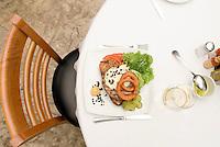 Tuna hanburger. Dishes at Puntarena restaurant shot for cookbook.  Mexico City July 5, 2007