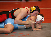 John Newman and John Swertfager wrestle at the 189 weight class during the NY State Wrestling Championships at Blue Cross Arena on March 8, 2008 in Rochester, New York.  (Copyright Mike Janes Photography)