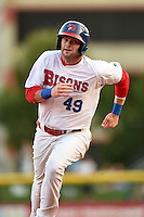 Buffalo Bisons third baseman Matt Hague (49) running the bases during a game against the Pawtucket Red Sox on August 23, 2014 at Coca-Cola Field in Buffalo, New  York.  Buffalo defeated Pawtucket 15-2.  (Mike Janes/Four Seam Images)