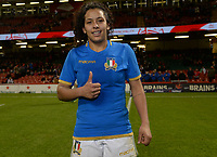 Italy&rsquo;s Giada Franco wins player of the match <br /> <br /> Photographer Ian Cook/CameraSport<br /> <br /> 2018 Women's Six Nations Championships Round 4 - Wales Women v Italy Women - Sunday 11th March 2018 - Principality Stadium - Cardiff<br /> <br /> World Copyright &copy; 2018 CameraSport. All rights reserved. 43 Linden Ave. Countesthorpe. Leicester. England. LE8 5PG - Tel: +44 (0) 116 277 4147 - admin@camerasport.com - www.camerasport.com