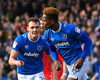 Jamal Lowe of Portsmouth right celebrates scoring the first goal with Kal Naismith of Portsmouth during Portsmouth vs Gillingham, Sky Bet EFL League 1 Football at Fratton Park on 10th March 2018