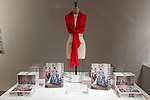 Image of red scarf and catalogs of the Charles James: Beyond Fashion exhibition at the new Anna Wintour Costume Center, in the Metropolitan Museum of Art, May 5, 2014.