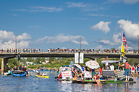Red Green river regatta, an annual event held in fairbanks where participants build crazy float devices and race down the Chena River through town.