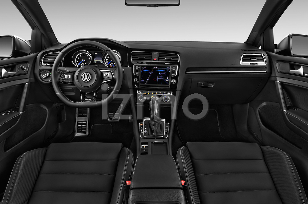 Stock photo of straight dashboard view of a 2014 Volkswagen Golf R 5 Door Hatchback 4WD Dashboard