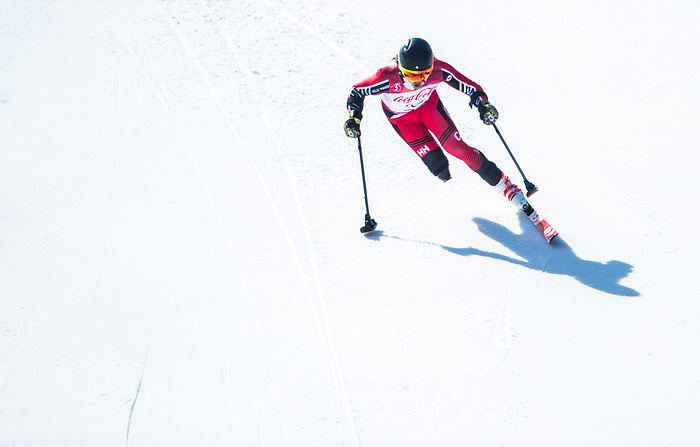 PyeongChang 11/3/2018 - Braden Luscombe skis in the men's standing super-G at the Jeongseon Alpine Centre during the 2018 Winter Paralympic Games in Pyeongchang, Korea. Photo: Dave Holland/Canadian Paralympic Committee